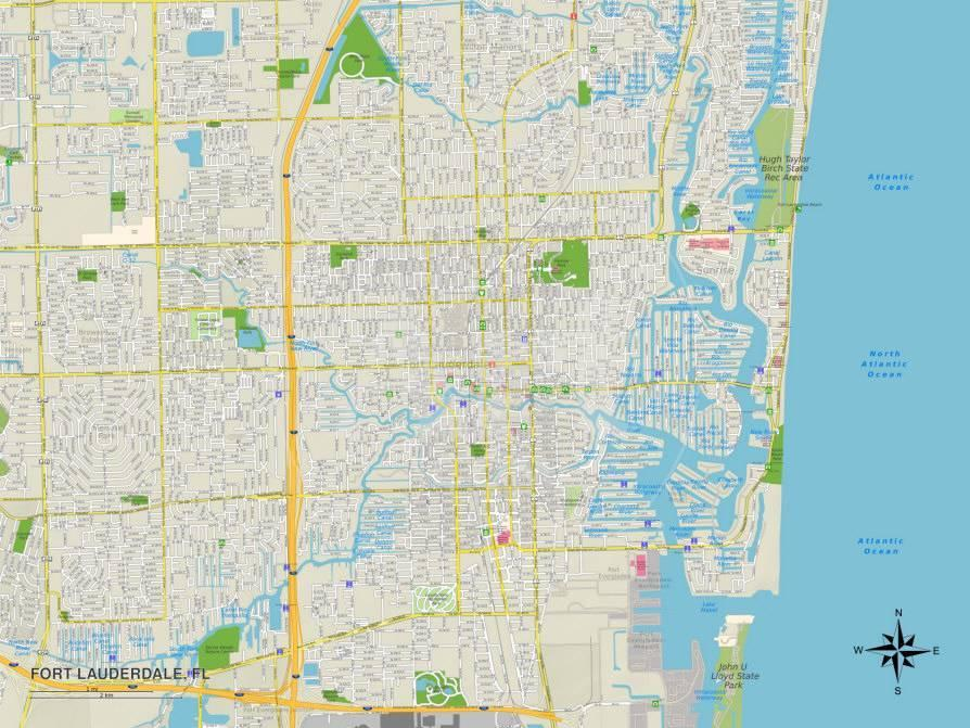 Map Of Florida Showing Fort Lauderdale.Political Map Of Fort Lauderdale Fl
