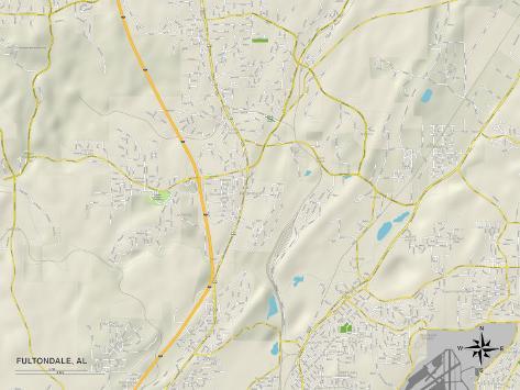 Political Map of Fultondale, AL Stretched Canvas Print