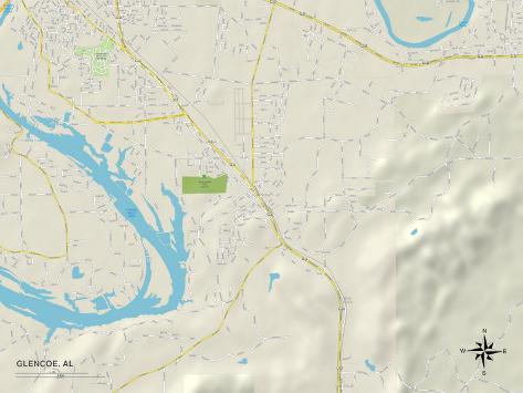 Political Map of Glencoe, AL Stretched Canvas Print