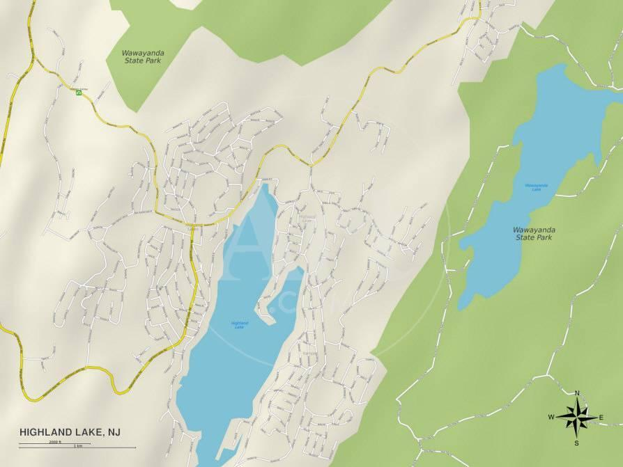 Political Map of Highland Lake NJ Photo at AllPosterscom