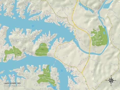 Political Map of Lake Ozark, MO Art Print