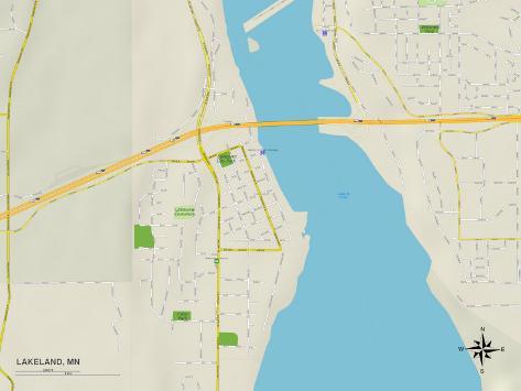 Political Map of Lakeland, MN Art Print