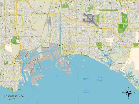 Political Map of Long Beach, CA Art Print