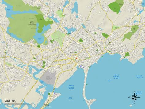 Political Map of Lynn, MA Art Print
