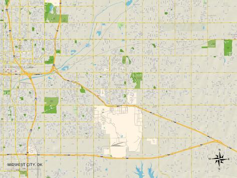 Political Map of Midwest City, OK Art Print