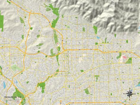 Political Map of Pasadena, CA Art Print