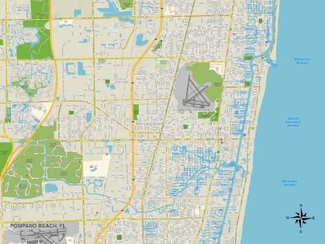 Map Of Pompano Beach Florida.Political Map Of Pompano Beach Fl Posters Allposters Co Uk