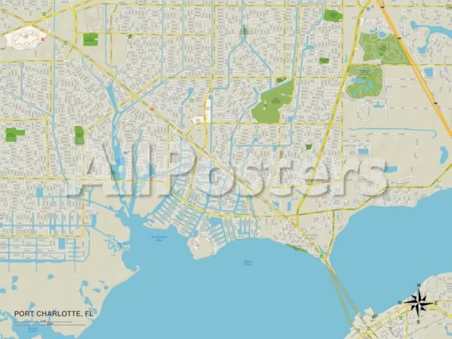 Port Charlotte Florida Map.Political Map Of Port Charlotte Fl Art At Allposters Com