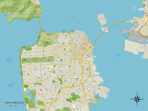 Political Map of San Francisco, CA Prints at AllPosters.com