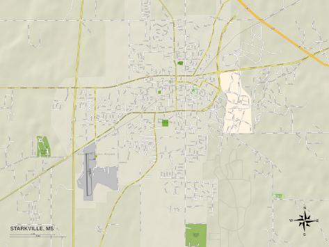 Political Map of Starkville, MS Art Print