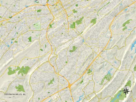 Political Map of Vestavia Hills, AL Stretched Canvas Print