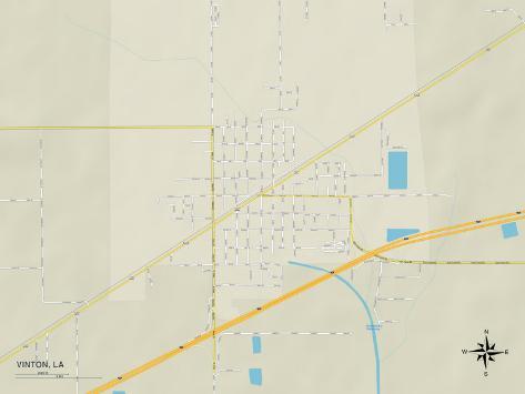 Political Map of Vinton, LA Stretched Canvas Print