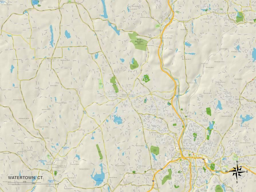 Political Map of Watertown, CT Prints - by AllPosters.ie