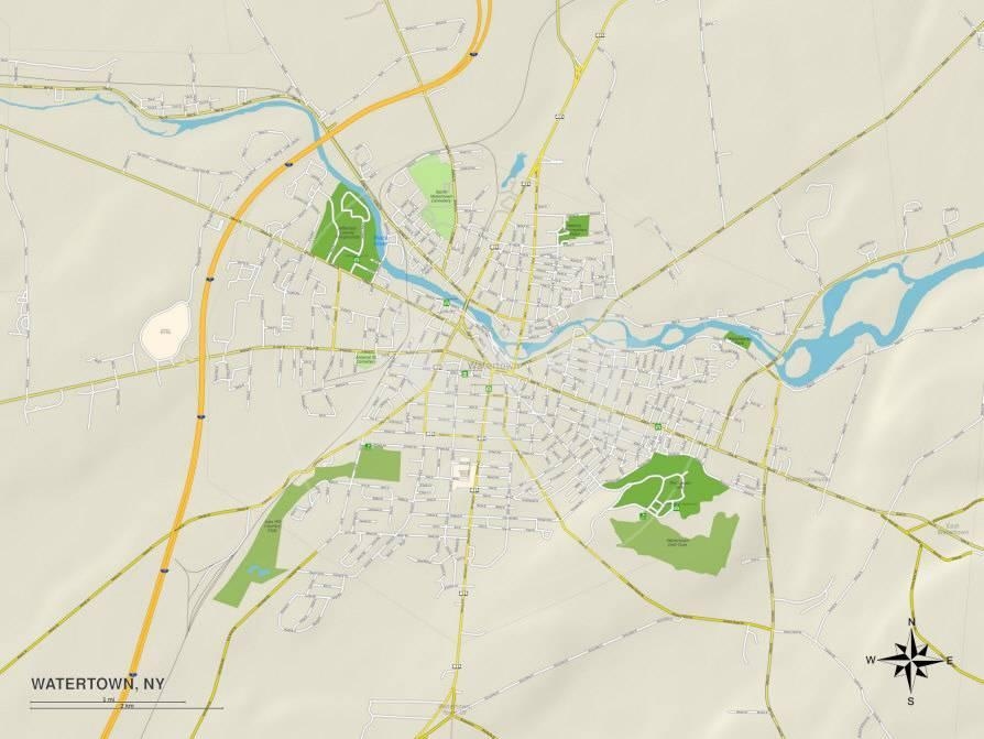 Political Map of Watertown, NY Posters - AllPosters.co.uk