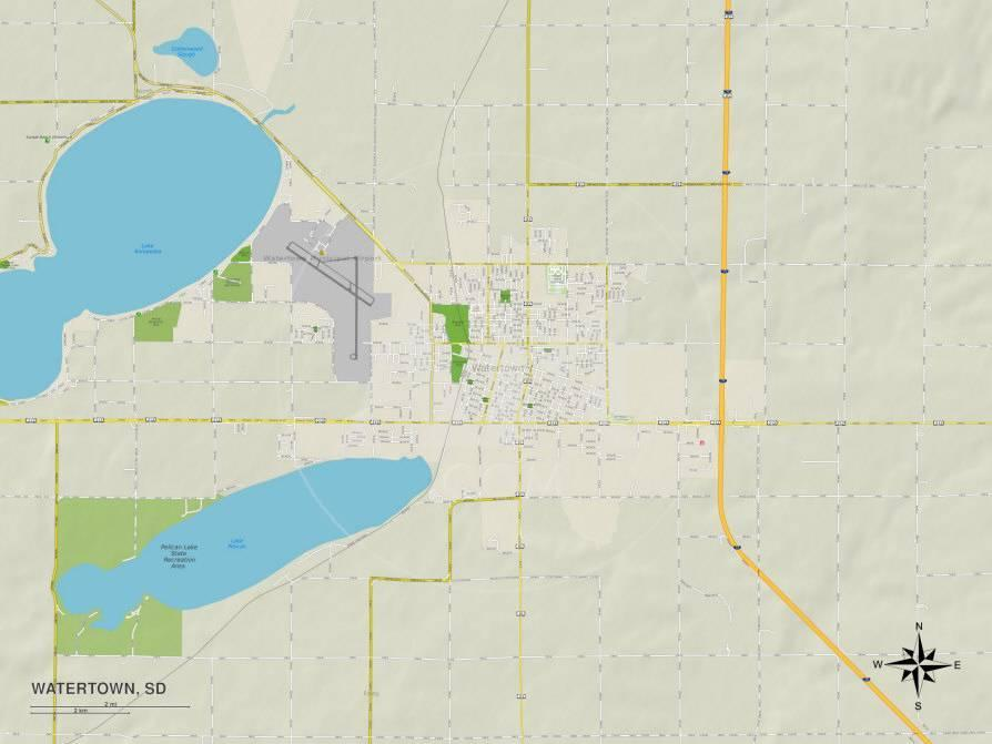 Political Map of Watertown, SD Prints at AllPosters.com