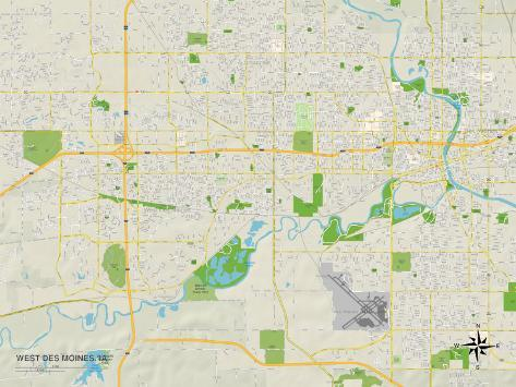 Political Map of West Des Moines, IA Art Print