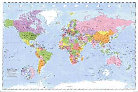Political World Map Miller Projection Poster At AllPosterscom - Political world map