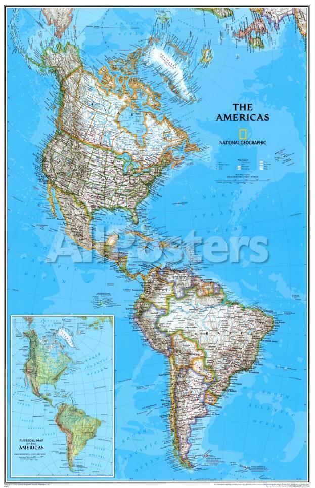 syd amerika kart Politisk karta över Nord  och sydamerika, engelska   Posters på  syd amerika kart