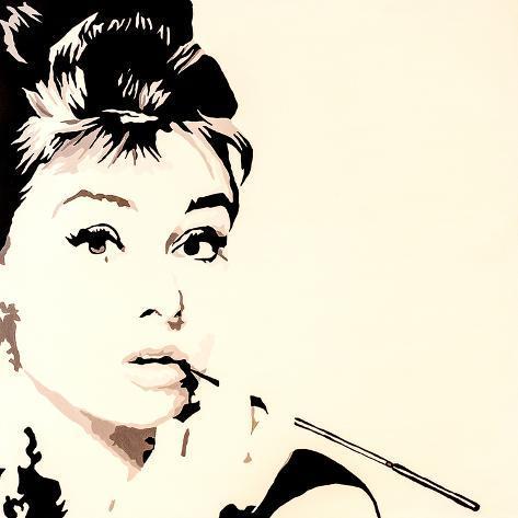 Just Smokin Audrey Hepburn Framed Giclee Print by Pop Art Queen - at ...
