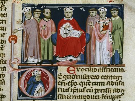 Pope Boniface VIII (1235-1303), Miniature from Decretales, Italy, 13th Century Lámina giclée