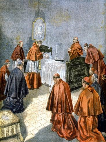 Pope Leo XIII Receiving the Last Rites on His Deathbed, 1903 Lámina giclée