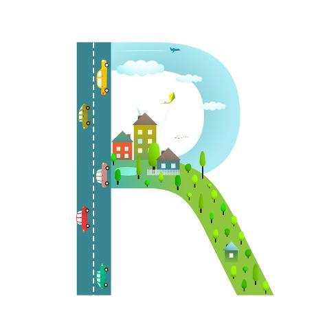 Alphabet Letter R Cartoon Flat Style For Children Fun Kids Boys And Girls With