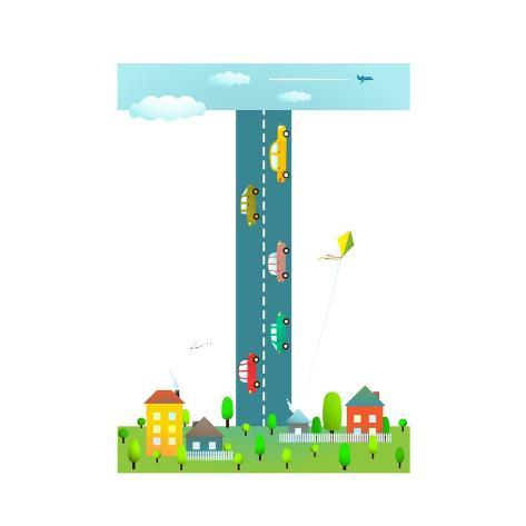 Alphabet Sign I Cartoon Style For Kids Fun Letter Children Boys And Girls With City