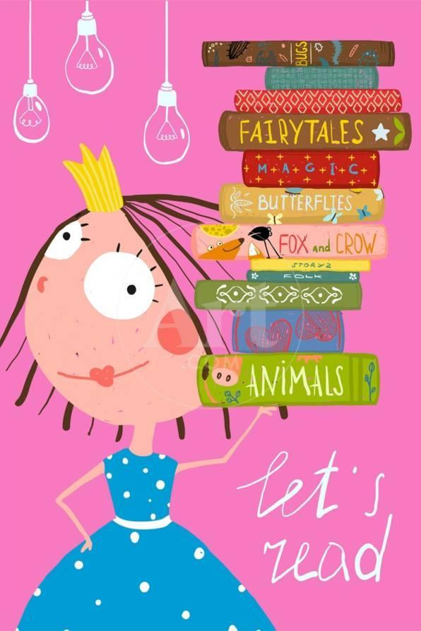 Clever Cute Little Girl Reading Books Poster  Colorful Hand Drawn Cute  Illustration for Little Kids