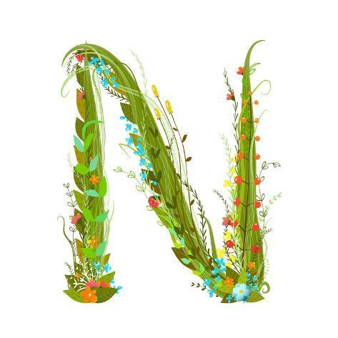 Flower Calligraphy Floral Elegant Decorative Alphabet Letter N Colorful Design
