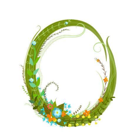 Flower Calligraphy Floral Elegant Decorative Alphabet Letter O Colorful Design