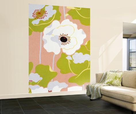 Poppies on Silk Huge Wall Mural Art Print Poster Wallpaper Mural