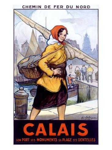 Port Calais Fishing Women Giclee Print