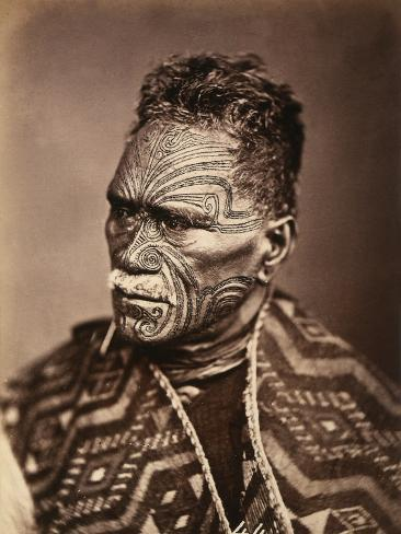 Portrait of a Maori with Tattoed Face Photographic Print