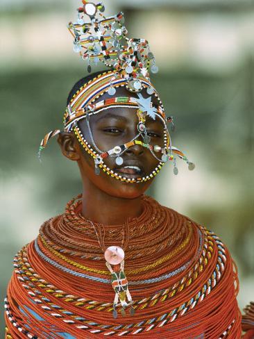 Portrait of a Teenage Girl Smiling, Kenya Stretched Canvas Print