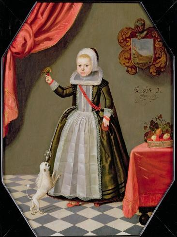 Portrait of a Young Girl with a Bird on Her Finger and a Dog at Her Feet, 1632 Lámina giclée