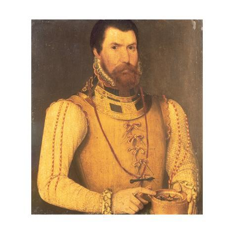 Portrait of Edward Fiennes De Clinton, 9th Lord Clinton and Saye, Earl of Lincoln, 1562 Stretched Canvas Print