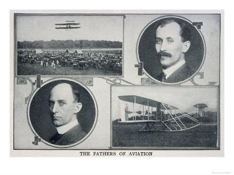 Portraits of Wilbur (Left) and Orville (Right) Wright and Pictures of Their Planes Giclee Print