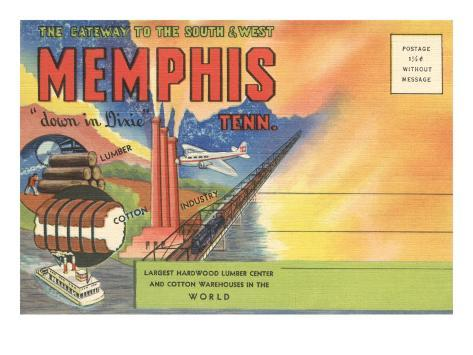 Postcard Folder, Memphis, Tennessee, Down in Dixie Art Print
