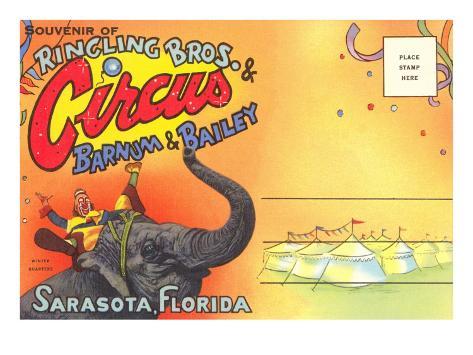 Postcard Folder, Ringling Brothers Circus Art Print