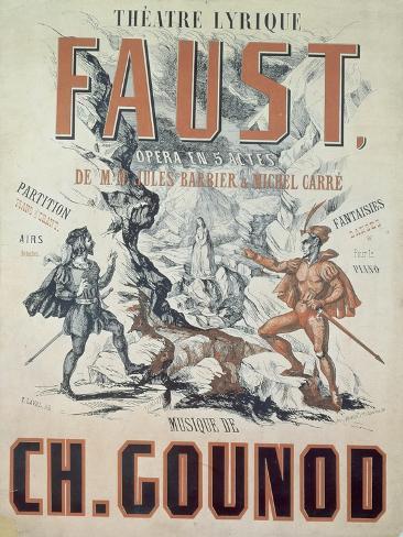 Poster Advertising Faust, Opera by Charles Gounod Lámina giclée