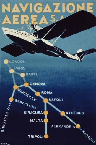 Poster Advertising Navigazione Aerea S.A., 1932 Stampa giclée