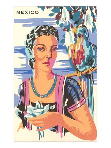 Poster for Mexico, Lady with Parrot Art Print