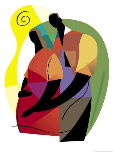 Pregnant Woman with Husband Art Print