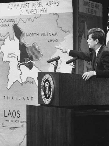 Pres. John F. Kennedy Speaking on Laos During Press Conference Photographic Print