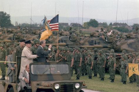 Present Jimmy Carter and Helmut Schmidt Review Nato Troops, July 15, 1978 Stretched Canvas Print