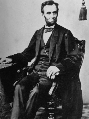 President Abraham Lincoln Sitting in a Chair Photographic Print