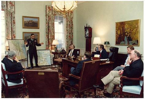 President George H.W. Bush (Gulf War Briefing) Art Poster Print Poster