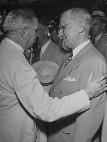 President Harry S. Truman Being Greeted by Friends Upon Arrival in His Hometown Stretched Canvas Print