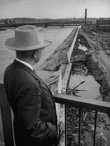 President Harry S. Truman Inspecting Damage Caused by Flood Stretched Canvas Print