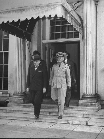 President Harry S. Truman Leaving the White House with Aide Captain James K. Vardaman Stretched Canvas Print